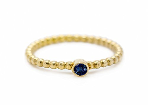 Handmade 22k gold plated Silver Woman Stacking ring inlaid Sapphire September Birthstone Size 5.5