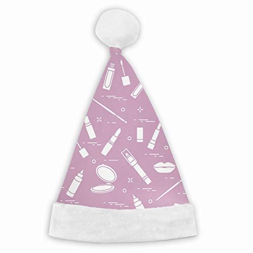 Santa Hat,Fashion Glamour Lip Make-up Seamless Pattern Unisex Velvet Fabric Christmas Hat with Comfort Lining&Plush Brim ()
