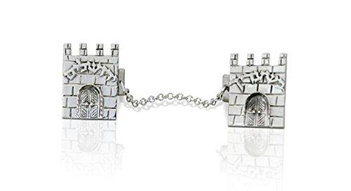 925 Sterling silver Tallit clips designed as the ''Gates of the old Jerusalem walls'', Hebrew Tallit clips,Avi Nadav,Nadav Art,Judaica gifts