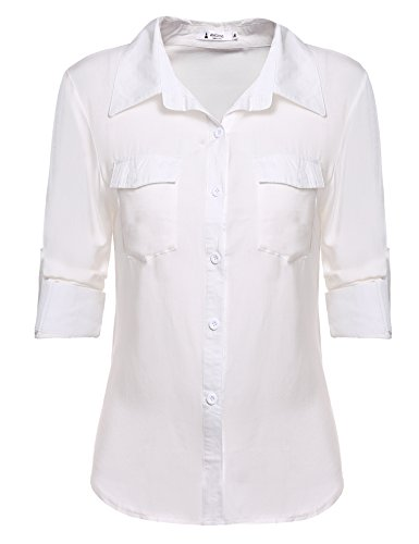 ANGVNS Womens Sleeve Button Cotton
