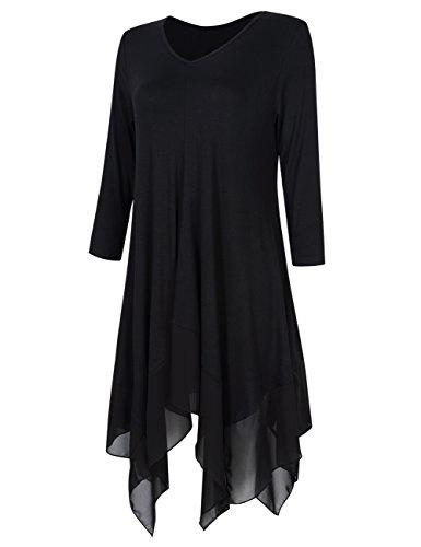 KoJooin Mousseline Soie Mesdames Longshirt Tunique Casual Noir en Asymtrique de Taille Blouse Oversize Shirt Top Casual T Plus Manches RwqARF