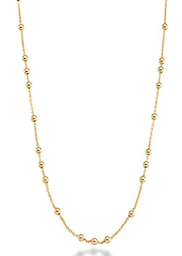 MiaBella 18K Yellow or Rose Gold Plated Italian Beaded Ball Rosary Long Wrap Layering Station Chain Necklace for Women, 60