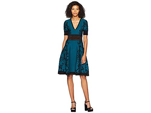 YIGAL AZROU¿L Womens Deep VNeck Jacquard Knit Dress
