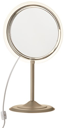 estal Vanity In Satin Nickel with 5X Magnification, Satin Nickel Finish, 9 Inch (Lighted Pedestal Mirror)