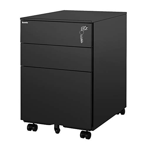 Bonnlo Mobile File Cabinet with Lock, 3 Smooth Gliding Drawers and Wheels for Home Office, Includes 25-Pack Hanging File Folders, Fully Assembled, Black