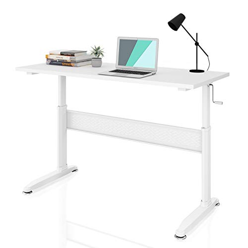 DEVAISE Adjustable Height Standing Desk 55 Inch with Crank Handle/White (Adjustable Height Table Crank)