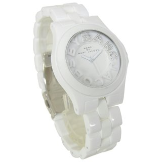 Marc By Marc Jacobs Crystal Stone Logo Use-For-Men-And-Women Wrist Watch White Women's Unisex Clock Mbm4523 Ribera