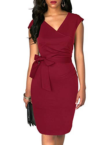 TuoGo Women's Chic V-Neck Short Sleeve Solid Belted Ruched Bodycon Casual Work Dress Sheath Knee-Length Dresses (S, 8002-Burgundy)