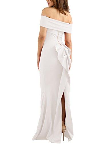 ROSKIKI Women's Off Shoulder Floor Length Back Slit Ruffle Bodycon Wedding Prom Maxi Dress US (12-14) White (Prom Slit Dress Back)