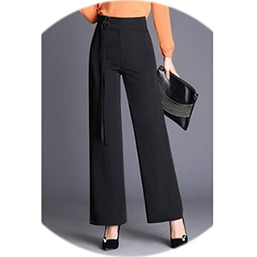 I'm good at you New 2019 Summer Ladies Wide Leg Pants European Style Black Color Female High Straight Trousers,Black,XXL for $<!--$42.03-->