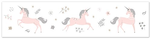Pink, Grey and Gold Wallpaper Wall Border for Unicorn Collection by Sweet Jojo Designs ()