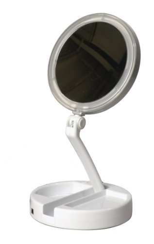 Price comparison product image Floxite 7504-12l 12x LED Lighted Folding Vanity and Travel Mirror, White, Frosted White