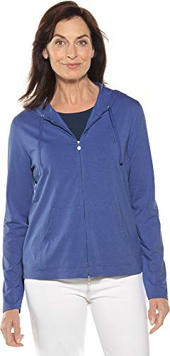 Coolibar UPF 50+ Women's Seaside Hoodie - Sun Protective (2X- Empire Blue)