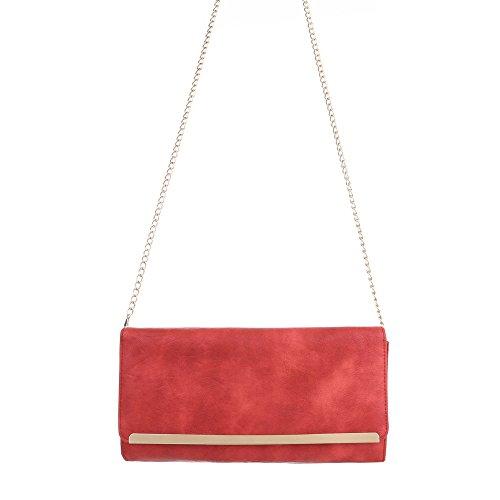 Ital-Design - Cartera de mano de Material Sintético para mujer Rojo