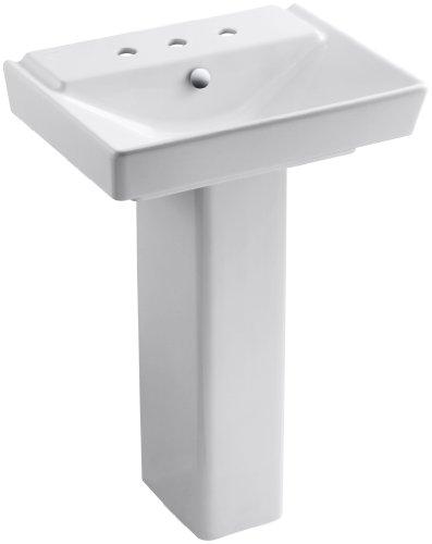 "KOHLER K-5152-8-0 Rêve 23"" Bathroom Sink Basin and Pedestal, White"