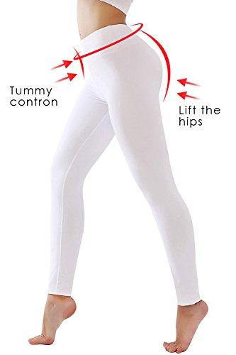 - DIAMONDKIT Women's Inner Pocket Non See-Through Leggings ... (1037 White, M)