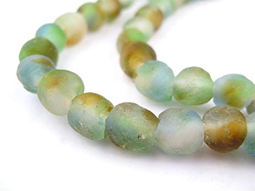 (TheBeadChest Blue Green Brown Swirl Recycled Glass Beads 9mm Ghana African Sea Glass Multicolor Round Large Hole 26 Inch Strand Handmade)
