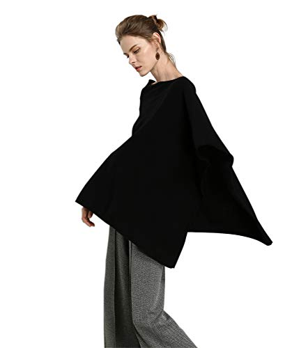 Women's cashmere poncho black wrap poncho sweater Solid Knit Asymmetric Sweater Pullover Wrap (One Size, 9018 Black)