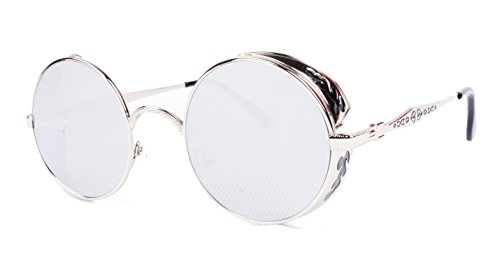 Vivian & Vincent Vintage Hippie Retro Metal Round Circle Frame Sunglasses (Silver Frame Silver Mirrored Lens)
