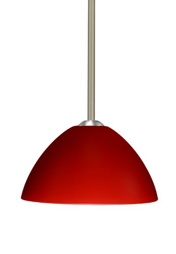 Besa Lighting 1TT-420131-LED-SN 1X6W GU24 Tessa LED Pendant with Red Matte Glass, Satin Nickel Finish