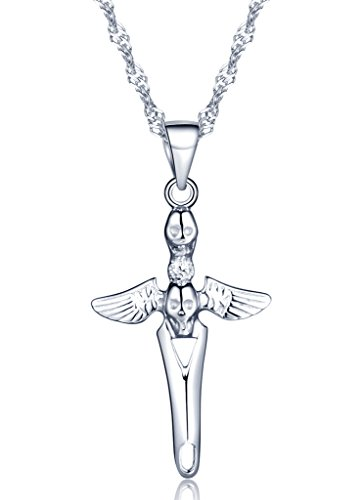 Angel And Devil Couple Costumes (Infinite U Women's Cool Skull Devil Wings 925 Sterling Silver Pendant Necklace with 18