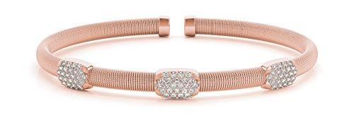 - 3/4ct. Diamond 14k Rose Gold Stackable Flexible Slip-On Bangle Bracelet - Italian Made