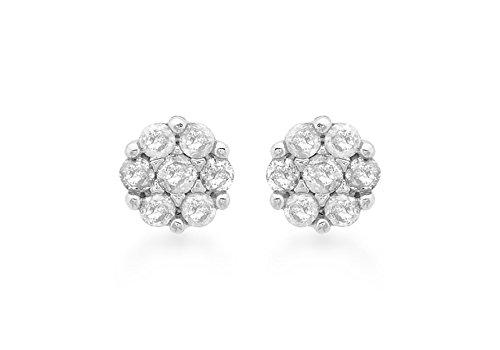 9ct or blanc 0,20ct Diamant Boucles d'oreilles en grappe