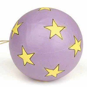 Package of 6 Handmade Paper Mache Star Patchwork Ball Ornaments for Tree Trim, Crafting and - Ball Ornament Mache Papier