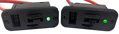 (2 PACK - JR Style Heavy Duty On/Off Switch with BRIGHT LED and CHARGE PORT - Apex RC Products #1061)