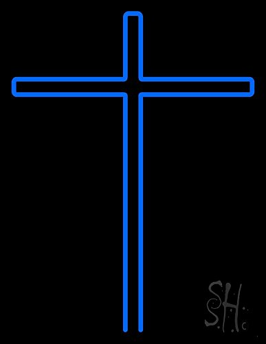 Blue Christian Cross Clear Backing Neon Sign 31'' Tall x 24'' Wide by The Sign Store