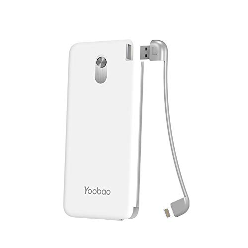 Yoobao Slim Portable Charger, 5000mAh Power Bank External Battery Pack Cell Phone Backup Charger Powerbank with Built-in iPhone Cable Compatible iPhone XS/Max/XR/X/8/7/6s/Plus, iPad and More - White