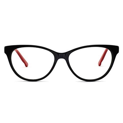 OCCI CHIARI Acetate Cateye Non-Prescription Frame Optical Eyewear Women(Black red)