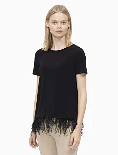 Calvin Klein Women's Short Sleeve TOP with Feather Hem, Black, M