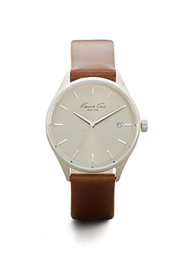 Kenneth-Cole-New-York-Mens-Classic-Quartz-Stainless-Steel-and-Brown-Leather-Dress-Watch-Model-10029305