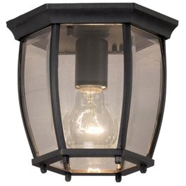 Portfolio 7 68 In W Matte Black Outdoor Flush Mount Light Amazon Com