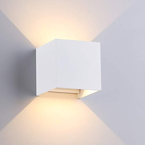 "ETiME Modern Wall Sconce Lights, 3.94"" LED Square White Up Down Light Indoor Outdoor Waterproof Adjustable Cube Wall Light Fixture for Patio Hallway Basement Staircase 3000K Warm Light (7W-White)"