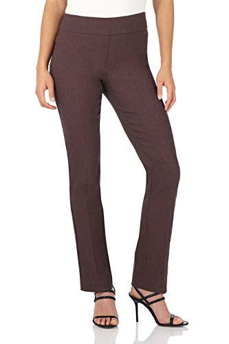Rekucci Women's Ease in to Comfort Straight Leg Pant with Tummy Control (6,Brown Mix)