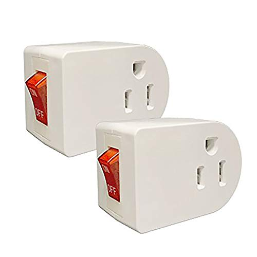 Oviitech Grounded Outlet Wall Tap Adapter with Red Indicator On/Off Power Switch (2Pack)