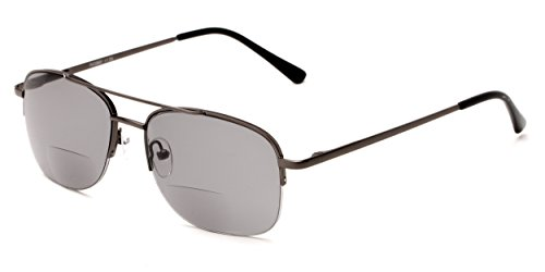 Readers.com The Durham Bifocal Sun Reader +1.50 Grey with Smoke Aviator Style Bifocal Sunglasses Reading Glasses