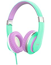 Elecder i41 Kids Headphones, Headphones for Kids Children Girls Boys Teens Foldable Adjustable On Ear Headphones with 3.5mm Jack for iPad Cellphones Computer MP3/4 Kindle Airplane School Green/Purple