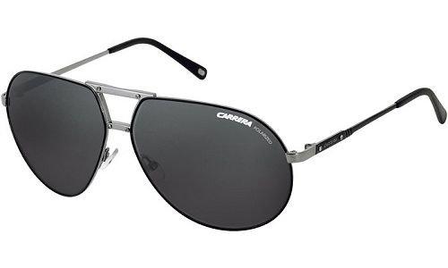 Carrera Men's Turbo Ruthenium / Black Frame/Grey Polarized Lens Metal Sunglasses, 60mm