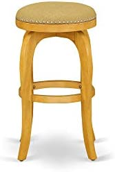 East West Furniture Bedford Swivel Backless Barstool 30 Seat Height With Oak Leg And Pu Leather Vegas Gold