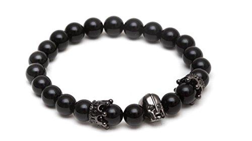ZENGER Jewelry Spartan Helmet Beaded Bracelet - 8mm Matte Black Onyx, Elastic, -