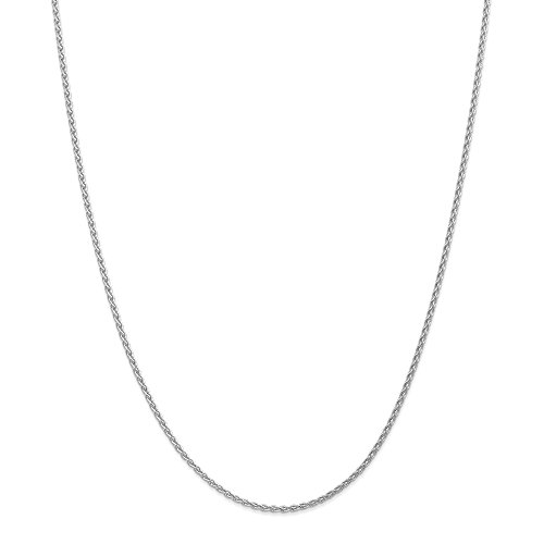 FB Jewels Solid 14K White Gold 1.9mm Parisian Wheat Chain