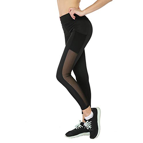- iNoDoZ Yoga Pants for Women Side & Inner Pockets Tummy Control Workout Mesh Stitching Pants Leggings Black