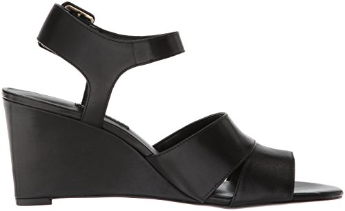 Leather Femmes West Nine Black Compensées Sandales 5fXxdqw1