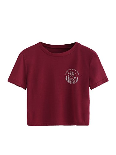 Burgundy Graphic (SweatyRocks Women's Casual Short Sleeve Tee Graphic Print Crop Top T-Shirt Burgundy L)