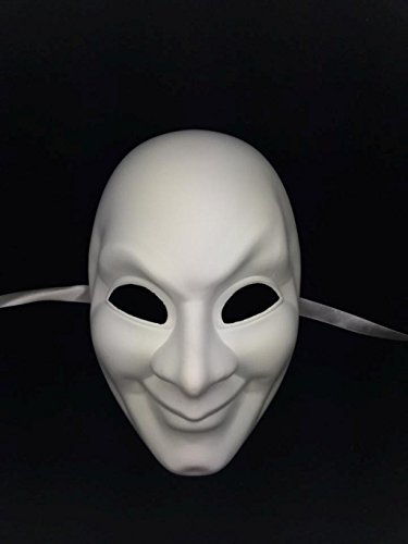 Half Style Mask (Jabbawockeez Style Venetian Masquerade White Creepy Smily Face Mask)