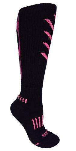 MOXY Socks Knee-High Black with Pink/Purple Ultimate VEKTR Premium Cushioned Socks