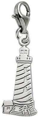 Rembrandt Charms Lighthouse, Cape Hatteras NC Charm with Lobster Clasp, Sterling (Cape Hatteras Lighthouse Charm)